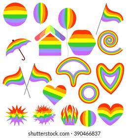 Large set of colorful symbols. Rainbow. Vector.