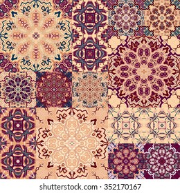 Large set of colorful vintage ceramic tiles with ornate Moroccan patterns. Backgrounds & textures shop.