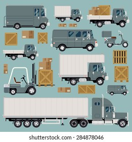 Large set of cool detailed flat design freight commercial transport items featuring delivery van, scooter, flatbed truck, forklift, semi-trailer tractor unit and various types of load and cargo