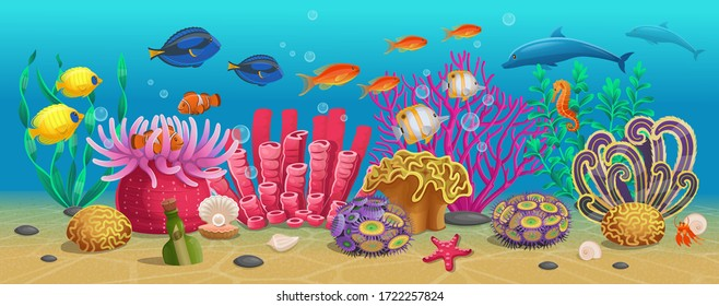 Large set of coral reef with algae tropical fish and corals. Vector illustration in cartoon style.