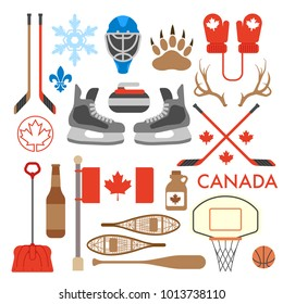 A large set of cute vector icons that represent the country of Canada.