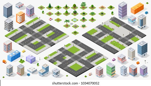 Large set of designers top view of the city quarter highway crossroads urban landscape town infrastructure