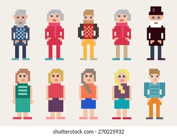 Large set of different colorful vector pixel people with men and women, young and old, for use as web design elements