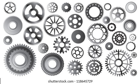 Large set of different gears - vector illustration
