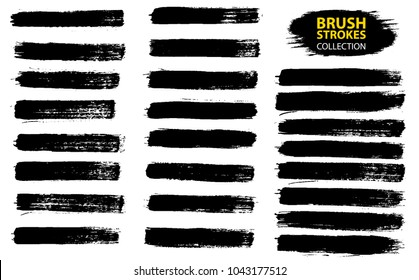 Large set different grunge brush strokes. Dirty artistic design elements isolated on white background. Black ink vector brush strokes. Black isolated paintbrush collection.