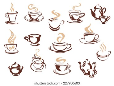 Large set of doodle sketch coffee icons in brown and white with steaming cups and mugs of coffee in various shapes, vector illustration on white. For cafe, restaurant or menu design