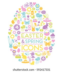 large set of easter and spring icons in easter egg shape
