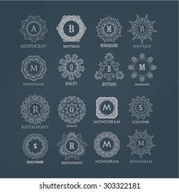 Large set of elegant simple luxury floral monogram designs. Elegant calligraphic ornament.