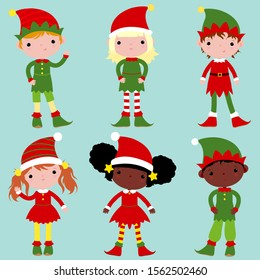 Large set with elves - helpers of Santa Claus. Children dressed as Christmas elves.