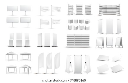 A large set of empty promotional media. Billboards, business cards, tents, stands, white empty store shelves. Graphic concept for your design. Vector illustration. Isolated on white background