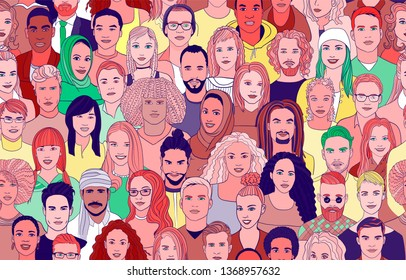 A large set of faces of young people of different nationalities. Seamless bright drawn creative pattern.