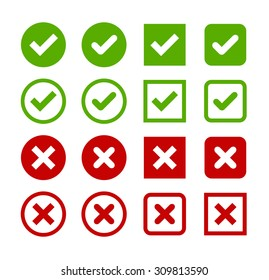 Large set of flat buttons: green check marks and red crosses. Circle and square, hard and rounded corners.