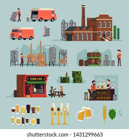 Large set of flat vector brewery and craft beer production design elements featuring brewery building, equipment, kegs and barrels, beer crates, supply, beer lover characters, workers, bar, pub, etc.