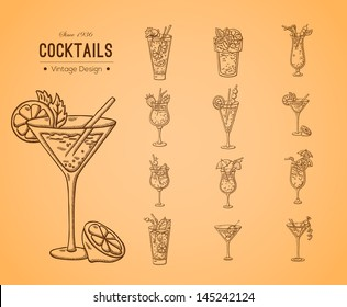 A large set of fresh cocktails. Easily editable vector. Various drinks on the background. Isolated objects. For menu. Hand drawing. Vintage label.