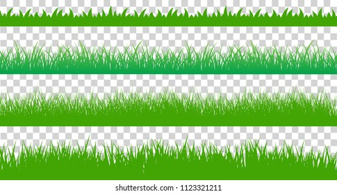 Large set of fresh green spring grass cartoon borders in lengths and densities for use as design elements isolated on transparent background. Vector illustration