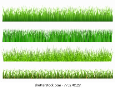 Large set of fresh green spring grass borders in lengths and densities for use as design elements isolated on white background. Vector illustrations