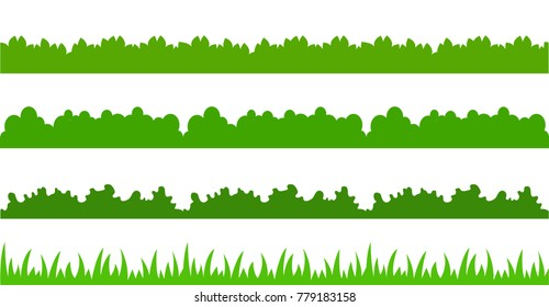 Large set of fresh green spring grass cartoon borders in lengths and densities for use as design elements isolated on white background. Vector illustrations