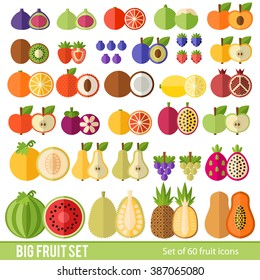 Large Set of fruit and berries in a flat style. Tropical fruits, berries, citrus fruits. Fruit in a cut. Juicy colorful fruit in a flat style.