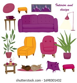 A large set of furniture and household items, a sofa, armchairs, flowers, tables, books, pillows, a picture and a rug.