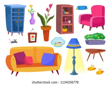 A large set of furniture and interior items. Living room. Vector illustration. On a white background.