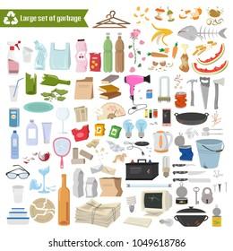 Large set of garbage on white background. Vector illustration.