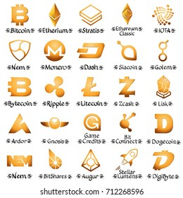 Large set of golden cryptocurrency icons. Vector illustration iolated on white background.