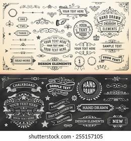 Large set of hand drawn design elements. Vector format.