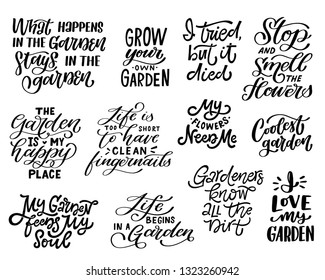 Large set of hand lettered gardening quotes. Funny saying about gardening. Isolated phrases on white background. Vector illustration
