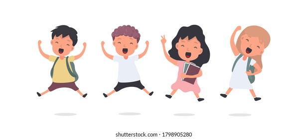 Large Set of Happy Schoolchildren. The teenagers are happy. Suitable for school or vacation design. Isolated. Vector.