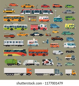 Large set of high quality flat design vector city transport featuring over 40 city road traffic items such as buses, cars, trucks, ambulance, taxi, cable cars, fire and police vehicles and more
