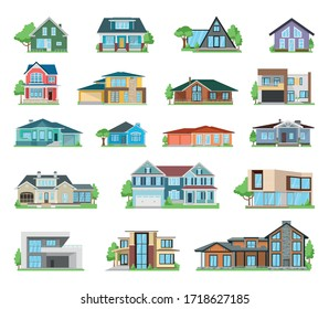 Large set of houses and residences on a white background, vector illustration