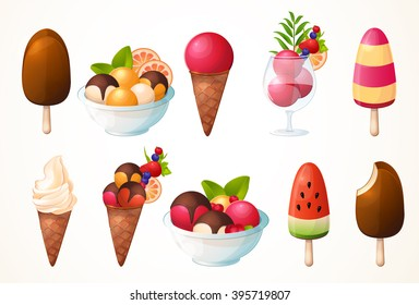 A large set of ice cream. Different types, many flavors. Icons, design, logo.
