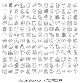 A large set of icons on the topic of real estate. Icons for sites, programs, applications and other. Editable stroke.