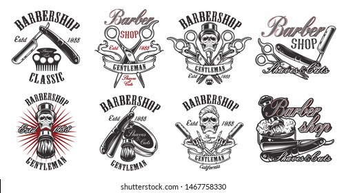 A large set of illustrations in vintage style for a barber shop with a skull, razor, scissors, shaving brush on white background. Illustration in an isolated group. Text and other elements in each
