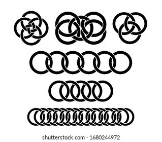 A large set of interlocking circles. Abstract interlace geometric circle element. Vector.