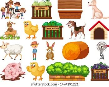 Large set of isolated farm objects illustration