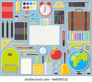 Large set of isolated school supplies. Vector illustration