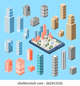 A large set of isometric buildings, skyscrapers and houses. Kit consists elements of vector objects, illustrations and drawings. Can be used in the design and graphics.