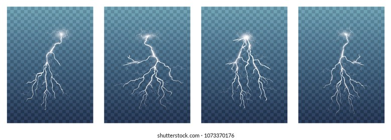 A large set of lightning. Thunderstorm and lightning. Magic and bright light effects.