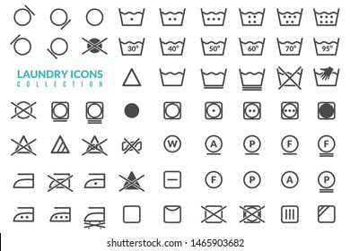 Large set of linear icons on the theme of washing care of textiles graphics for instructions on white background isolated objects