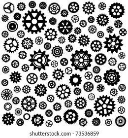 Large set of more than 100 different gears