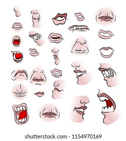 A large set of mouths and lips in the style of comic books