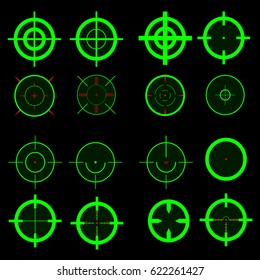 A large set of night snipekskiy sights are green on a black background
