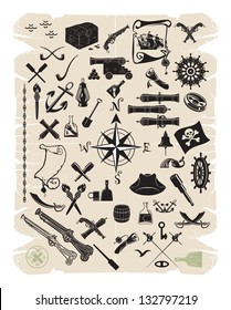 Large set of objects and pirate characters, vector