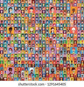 Large set of people avatars in flat style Vector women, men with color background