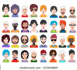 Large set of people avatars in flat style