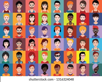 Large set of people icons, avatars in flat style with faces. Vector women, men character