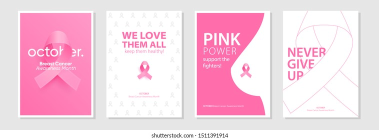Large set of posters for October Breast Cancer awareness month. Creative designs with pink ribbon and motivational text. Eps10 Vector illustrations.