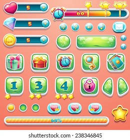 A large set of progress bars, buttons, boosters, icons for user interface design of computer games.