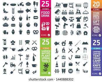 Large set of quality food, shop, garden fishing icons